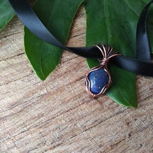 Handwoven Lapis Lazuli Pendant